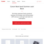 Canon Cash Back - Cameras, Lenses & Printers