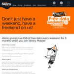 Free 2GB Data Weekends for 3 Months When You Join Skinny Mobile (on $16, $26 or $46 Combo)