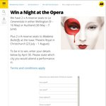 Win 2x A-Reserve Seats to La Cenerentola (Wellington or Auck) OR Madama Butterfly (Christchurch)