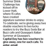 Win 1 of 2 Vouchers for Buzz Soda Bar at Buzz Cafe and Giuseppe's Italian Summer at Giuseppe's @ The Dominion Post (Wellington)
