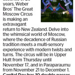 Win 1 of 10 Double Passes to Weber Bros' The Great Moscow Circus from The Dominion Post