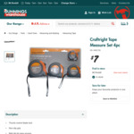 Craftright Tape Measure Set 4pc $7 (Was $12~) @ Bunnings Warehouse