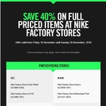 40% off All Full Price Items at Nike Factory Store (Onehunga)