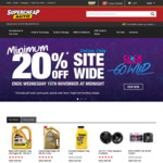 Supercheap Auto - Minimum 20% off - Online Only - 1 Day