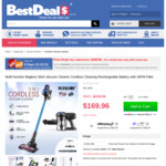 Rechargeable Multi-Function Bagless Cordless Vacuum Cleaner with HEPA Filter, $169.9 (Was $299.95) + Delivery @ Best Deals