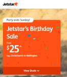 Jetstar Birthday Sale: Domestic Flights from $25 (eg CHC to AKL/WLG), Australia from $129 (eg CHC-MEL/GC) @ Jetstar