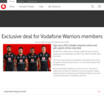 Vodafone Pay Monthly Plan Discounts ($5 - $20 off) to Vodafone Warriors Members