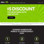 $5 Discount via SMS Code on Any Topups - to Spend at Thewarehouse (Min $50 Spend) @ Warehouse Mobile