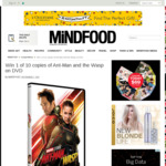 Win 1 of 10 copies of Ant-Man and the Wasp on DVD from Mindfood
