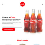 Share a Coke with Your Own Personalised Name $8 each + Free Delivery on 4+ bottles @ Coke