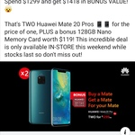 Buy 1 Huawei Mate 20 Pro $1299 & Get 1 Free + Bonus 128GB Nano Memory Card (in Store Only) @ PB Tech