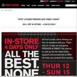 25% off Foot Locker (Thurs-Sun Only) Nov 12-15