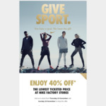 40% off The Lowest Ticketed Price @ Nike Factory Store (Onehunga)