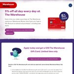 Apply for Any Warehouse Money Visa Card (Fee Free) and Get $50 Warehouse Gift Card