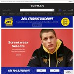 Free Shipping No Minimum Spend (Socks from $1.42, Tees from $3)  @ Topman