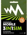 Warehouse Mobile $16 SIM Delivered for $8, 1.25GB Data, Unlt Text & 200 Mins to NZ/OZ & 13 Countries @ Warehouse