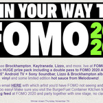 "Win a Double Pass to FOMO 2020 Auckland, a Sony 55"" Android TV + Sony Soundbar, Vinyl Albums, etc from BurgerFuel"