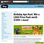 Mighty Ape Birthday Ape Hunt: Win a LEGO Prize Pack Worth $1099