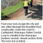 Win 1 of 2 Two Day-Tripper Rahui Coastal Loop Vouchers with Ebike, Helmet Hire and Transfer from The Dominion Post