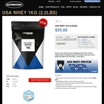 USA Whey Protein 1KG (2.2lbs) $25, Buy 3 for $60 ($20ea), 5 for $93 ($18.6ea) or 10 for $175 ($17.5ea) @ NZ Protein