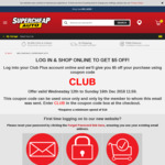 Supercheap Auto - Club Plus Members, Log in, Spend $10, Get $5 off