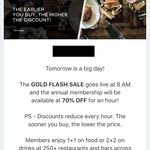70% off Zomato Gold Annual Pass $19.50, 8AM-9AM 14/6 @ Zomato - Auckland Only