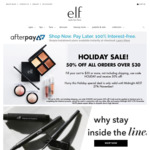 50% Off Orders above AUD $30 With Code, Free Shipping Min Spend AUD $40 @ e.l.f. Cosmetics