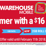 $16 Warehouse Mobile Combo 2GB of Rollover Data (Was 1GB) + 240 minutes (Was 120 minutes)
