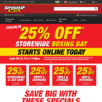 25% off Storewide Boxing Day Sale @ Supercheap Auto