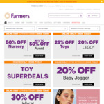 50% off Nursery, 40% off F&P Toys, Most Baby Clothes, 30-50% off Avent @ Farmers