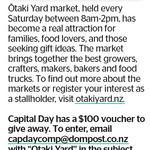Win a $100 Otaki Yard Market Gift Voucher from The Dominion Post (Wellington)