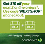 $10 off Your Next Two Online Orders over $100 @ Countdown