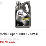 Mobil Super 3000 Full Synthetic 5L 5W-40 $39.99, Valvoline XLD Premium 15W-40 4L $19.99 @ Repco