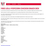Free KFC Popcorn Chicken Snack Box before 4pm (Region Specific, Must Show Proof of Vaccination) @ KFC