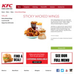 New Sticky Wicked Wings @ KFC $7 for Lunch Bundle