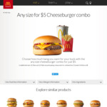 Any Size Cheeseburger Combo - $5 @ McDonald's