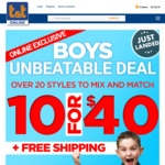 10 Boy's Items for $40 + Free Shipping @ Tandt.co.nz