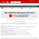 Spend $100, Receive a $20 e-voucher When Paying with Mastercard @ The Warehouse