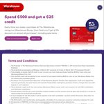 Spend $500 or More with Your Warehouse Money Visa Card at Any Store Visa Is Accepted and Get a $25 Credit