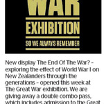 Win a Double Combo Pass to The End Of The War? from The Dominion Post (Wellington)