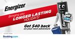 Get $40 Cashback for Any Reservation of $170 @ Booking.com via Energizer Holidays