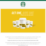 Win 1 of 40,000 Blonde Roast Starbucks Coffees from Starbucks