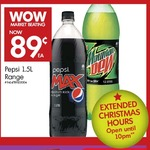 Pepsi 1.5l Range (Mountain Dew, Pepsi Max, etc.) 89¢ @ The Warehouse