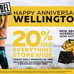 20% off Everything Storewide @ Rebel Sport (Wellington, Palmerston North, Wanganiu)