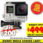 Silver Hero4 GoPro Action Camera $499 ($200 off) at JB Hi-FI