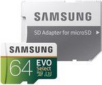 Amazon - Samsung 64GB MicroSDXC Memory Card with Adapter - USD $26.97/NZD $38.09 Delivered