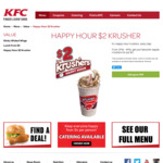KFC Happy Hour - $2 Krushers (2pm to 4pm)