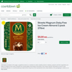 Streets Magnum Dairy Free Ice Cream Almond 3 pack 270ml $5 @ Countdown
