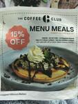 15% off Menu Meals @ The Coffee Club Orewa (Auckland)
