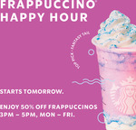 Half Price Frappuccinos 3-5pm Mon 20 Jul - Fri 24 Jul @ Starbucks